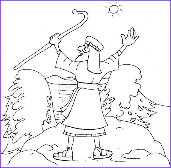 moses about to divide red sea coloring page