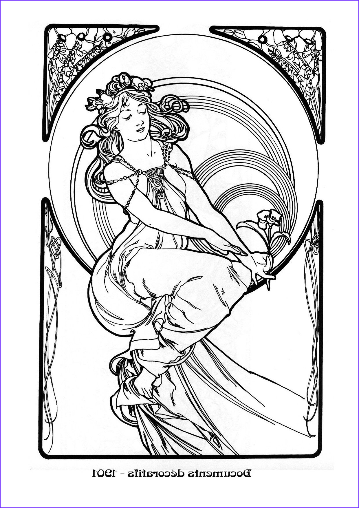 Mucha Coloring Book Luxury Photography Kleurplaat Naar Alfons Mucha Colouring Picture A Mucha