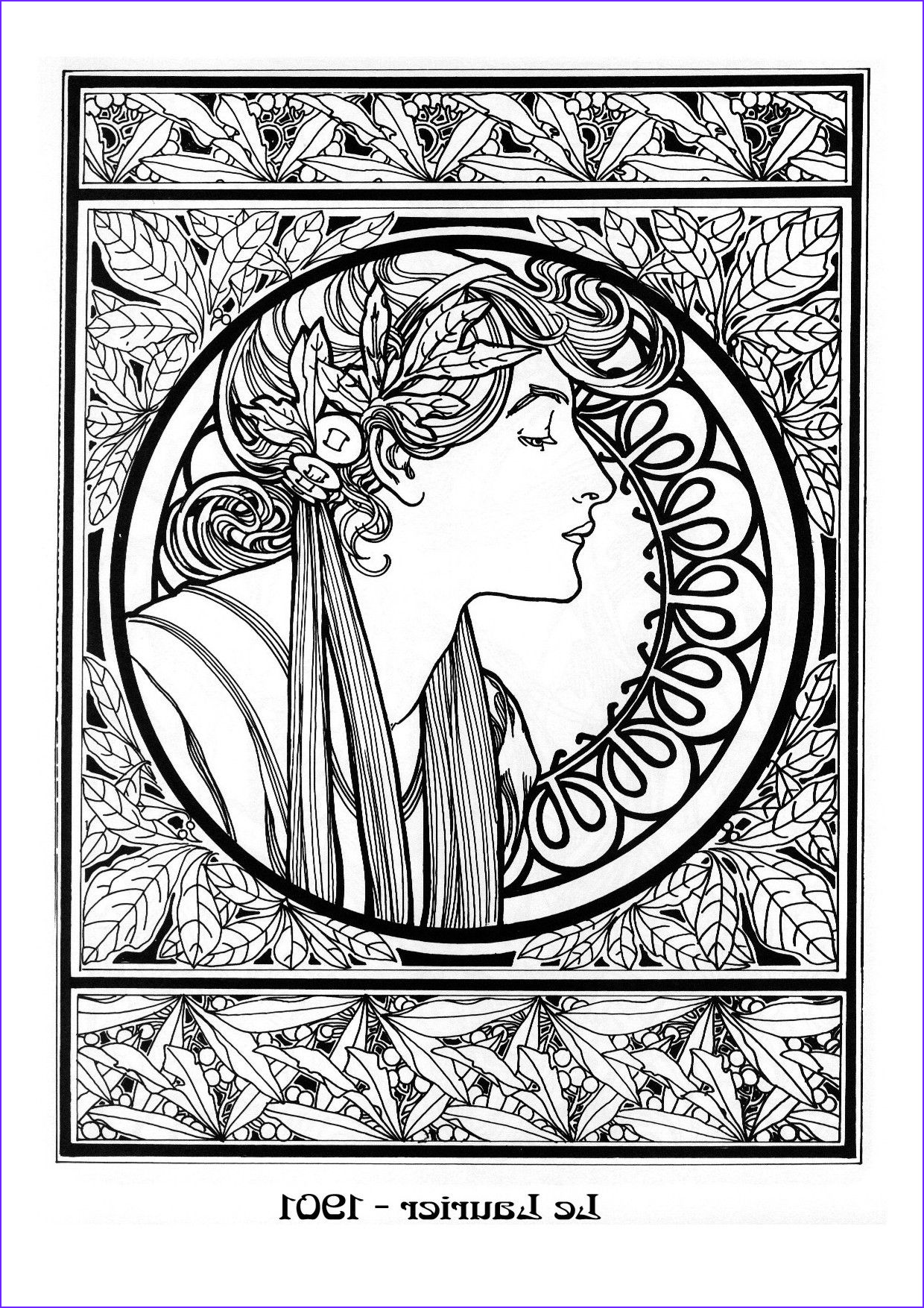 Mucha Coloring Book New Gallery Mucha Le Laurier Coloriages Pinterest