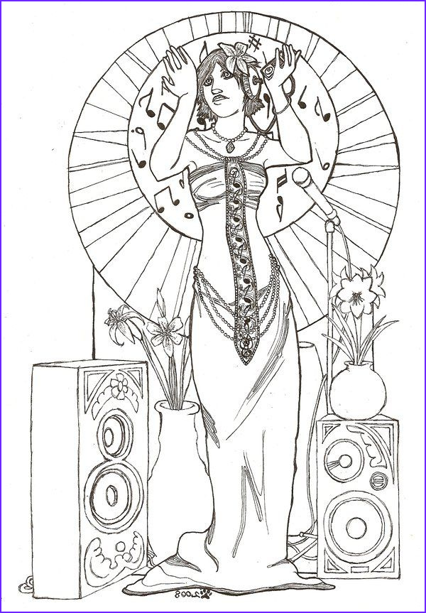 Mucha Coloring Book New Gallery Street Music Nouveau Line Art by Artemisfalling Deviantart