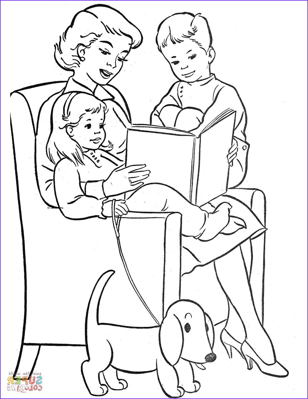 Mum Coloring Page New Photos Mom Reading to Children Coloring Page