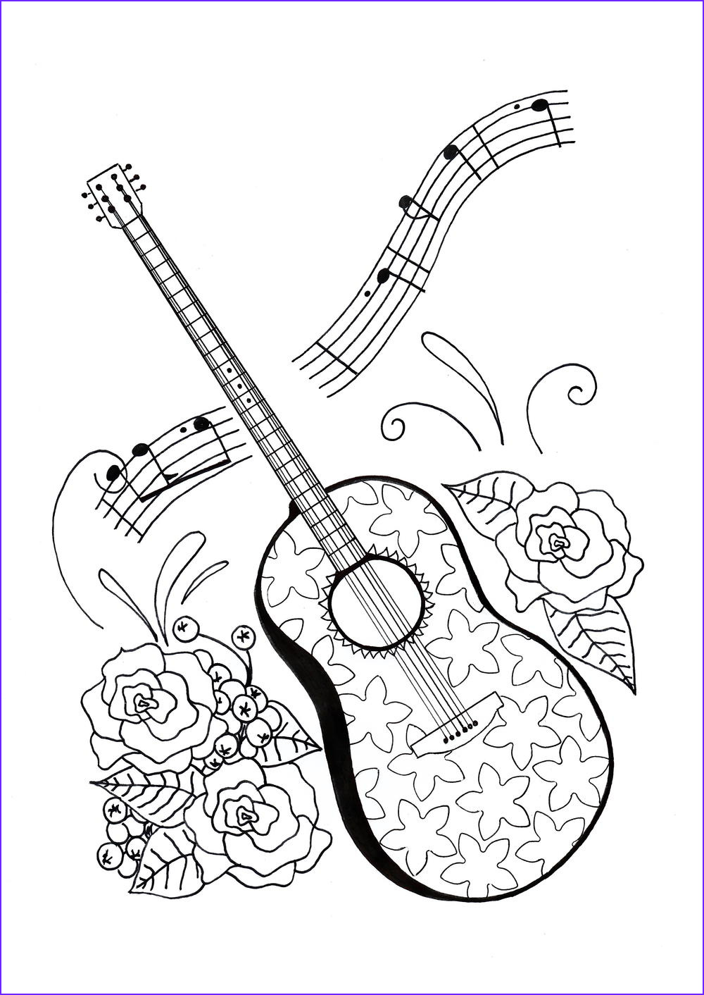 For the Love of Music Adult Coloring Page