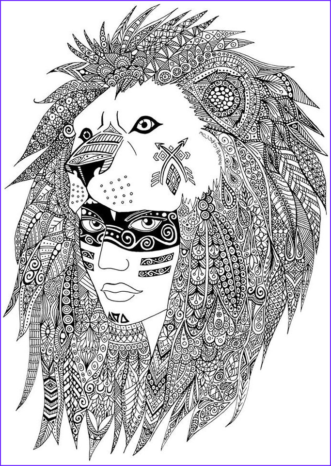 Native American Adult Coloring Books Beautiful Image A Leader Of A Native American Tribe Maked with Heart and