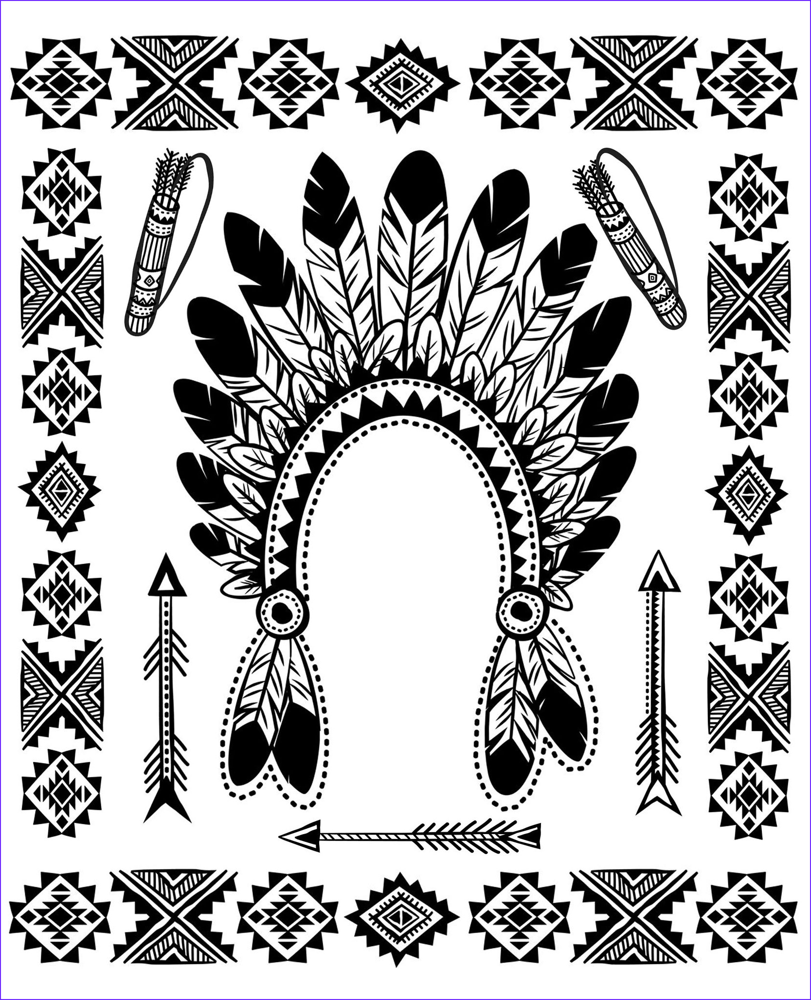 image=native americans coloring page native american indian chief headdress 1