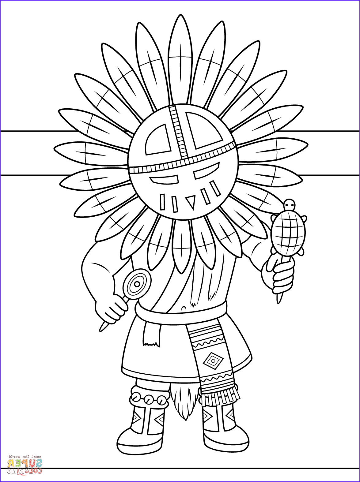 indian headdress coloring page