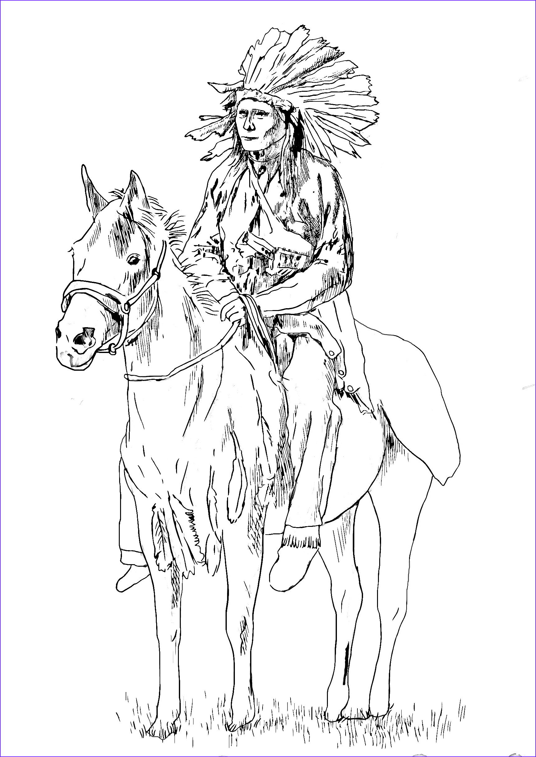 image=native americans coloring adult native american on his horse 1