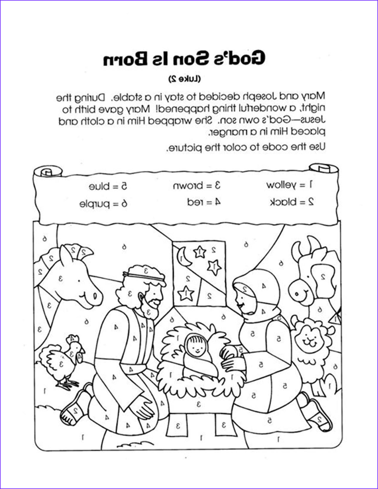 Nativity Coloring Pages for Preschool Inspirational Gallery Color by Numbers Nativity