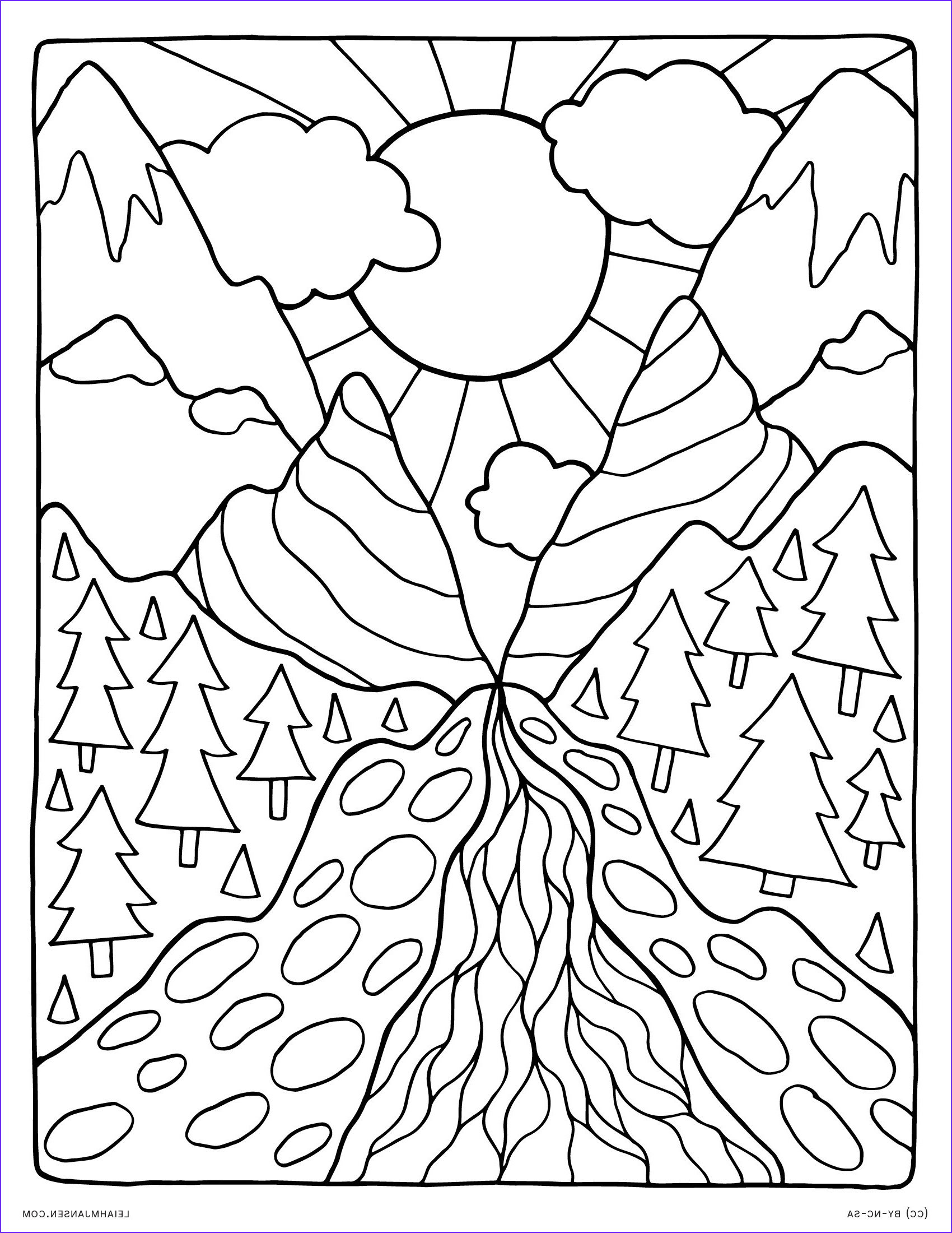 Nature Coloring Pages for Adults Cool Photography Detailed Landscape Coloring Pages for Adults at