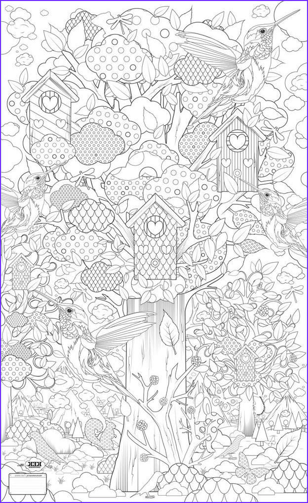 Nature Coloring Pages for Adults Cool Photos Birdhouse Humming Bird Tree Nature Abstract Doodle