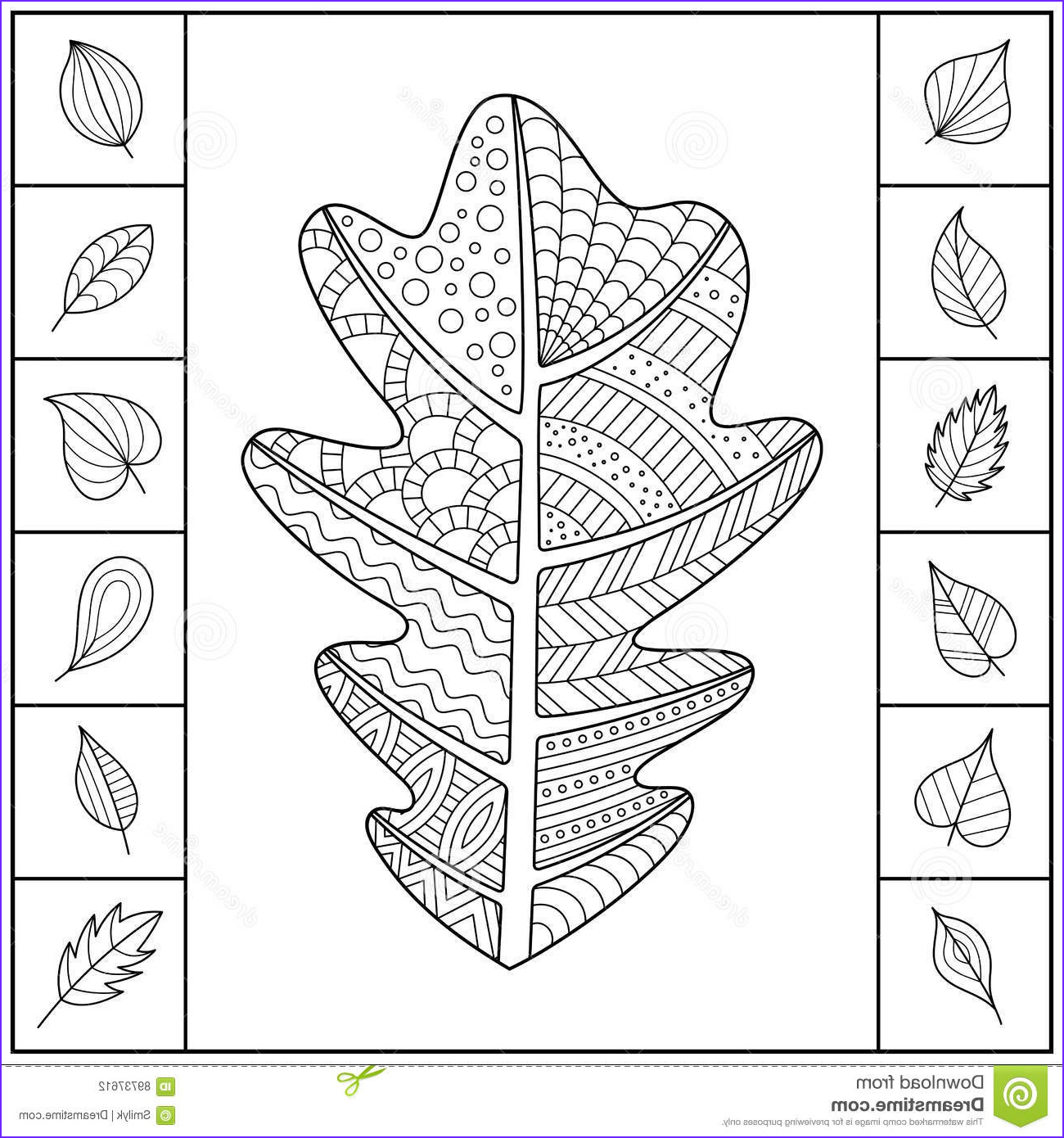 Oak Leaf Coloring Page Beautiful Photography Uncolored Patterned Oak Leaf and Different Simple Leaves