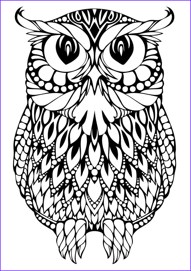 Owl Coloring Beautiful Stock Owl Coloring Pages for Adults Free Detailed Owl Coloring