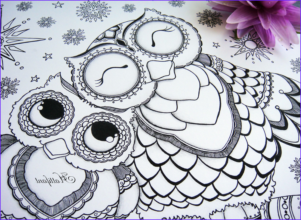 owl colouring pages and printable card 1