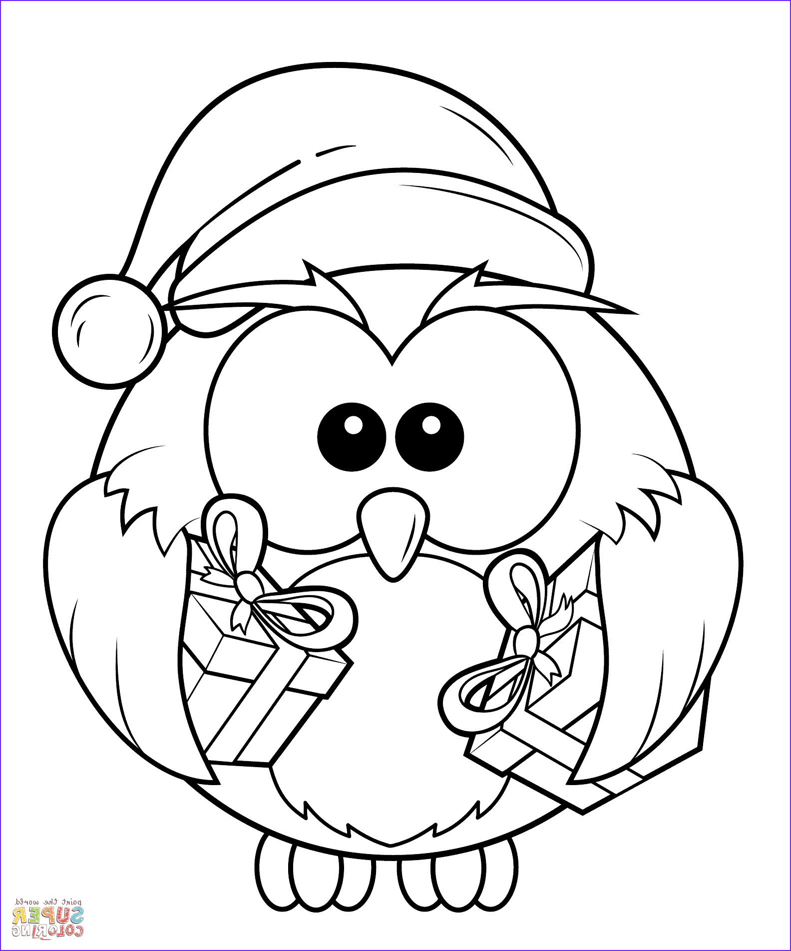 Owl Coloring Luxury Photos Christmas Owl with T Boxes Coloring Page 1584×1903