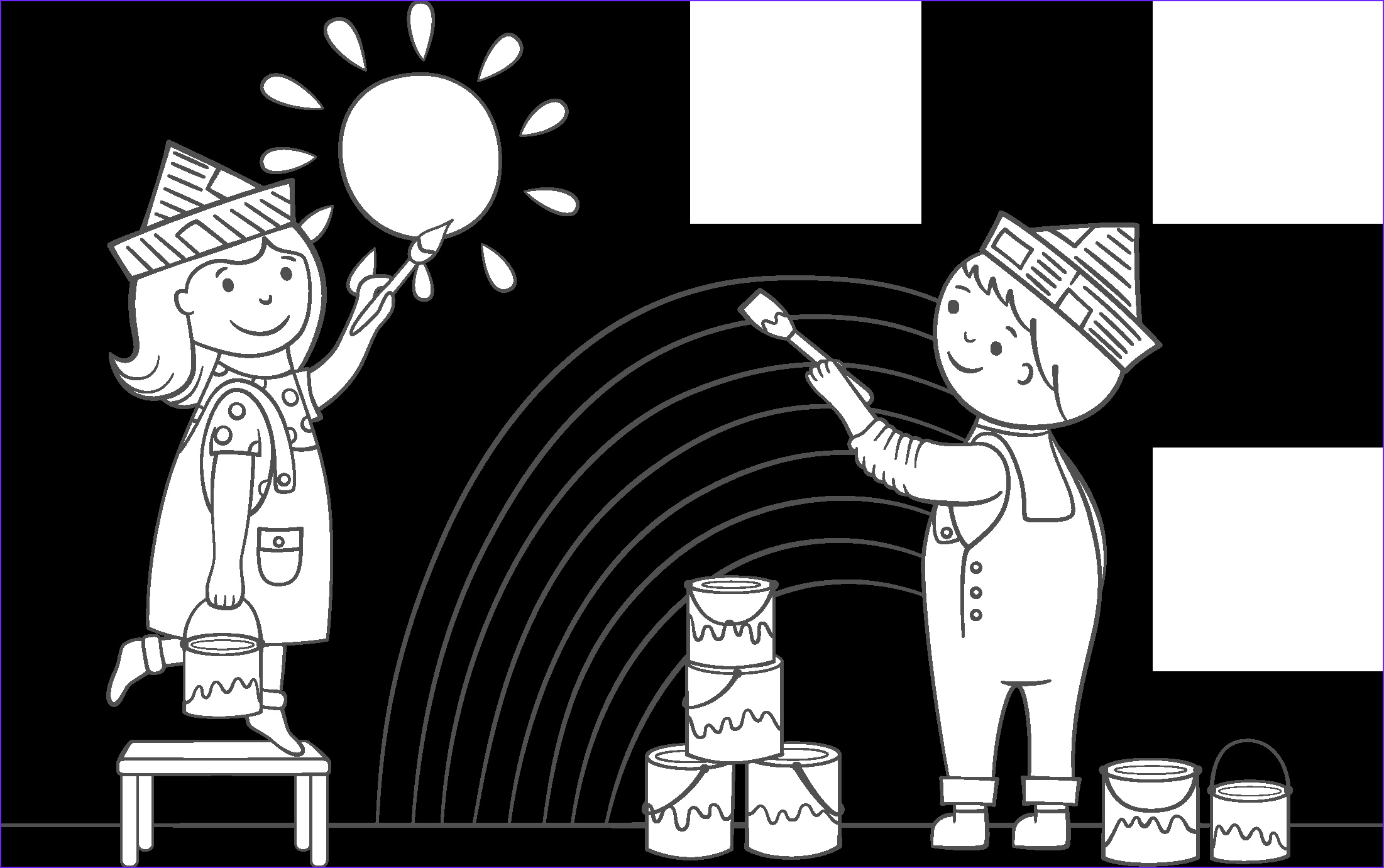 kids painting coloring page