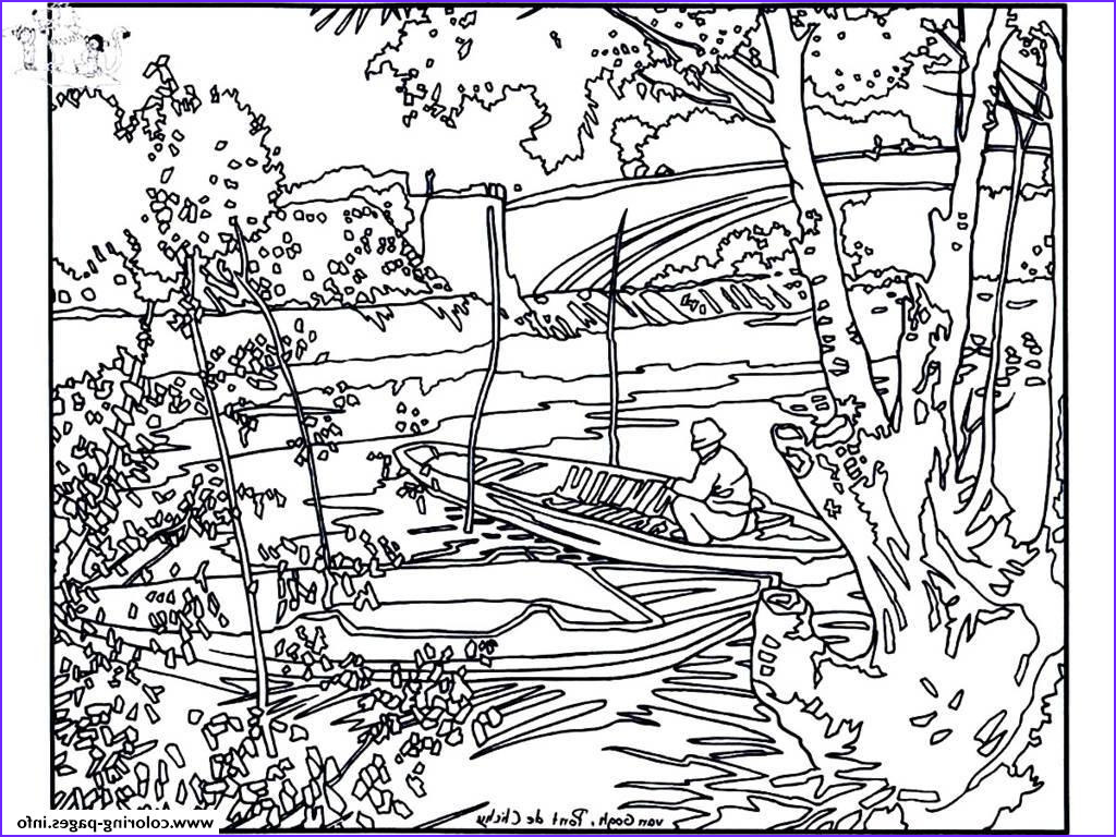 Painting Coloring Books Beautiful Images Adult Van Gogh Pont De Clichy Coloring Pages Printable