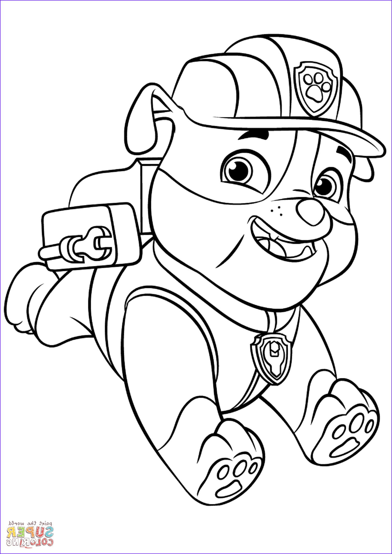 Paw Patrol Coloring Page Luxury Gallery Paw Patrol Rubble with Backpack Super Coloring