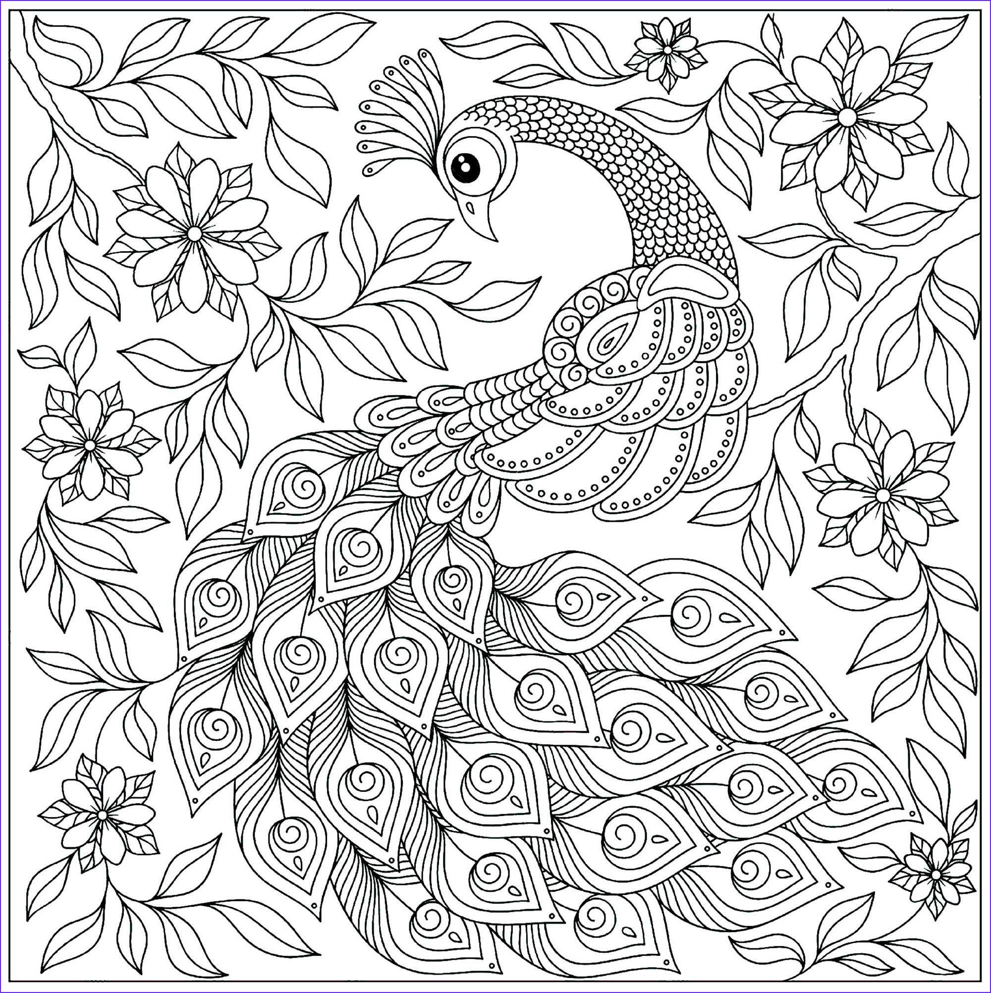 image=peacocks coloring page vintage peacock with flowers 1
