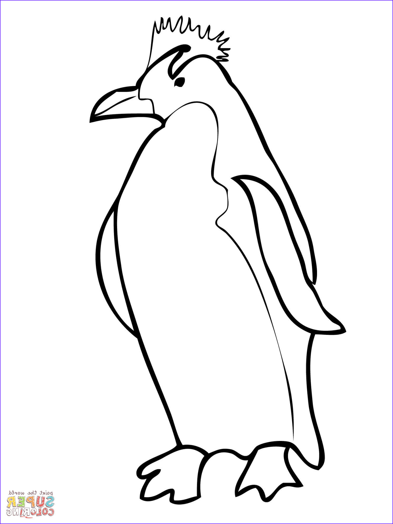 King Penguin clipart coloring page