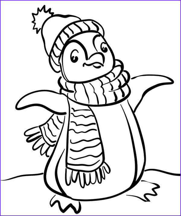 Penguin Coloring Book Cool Gallery Penguin Wear A Scarf Coloring Page Penguin Coloring