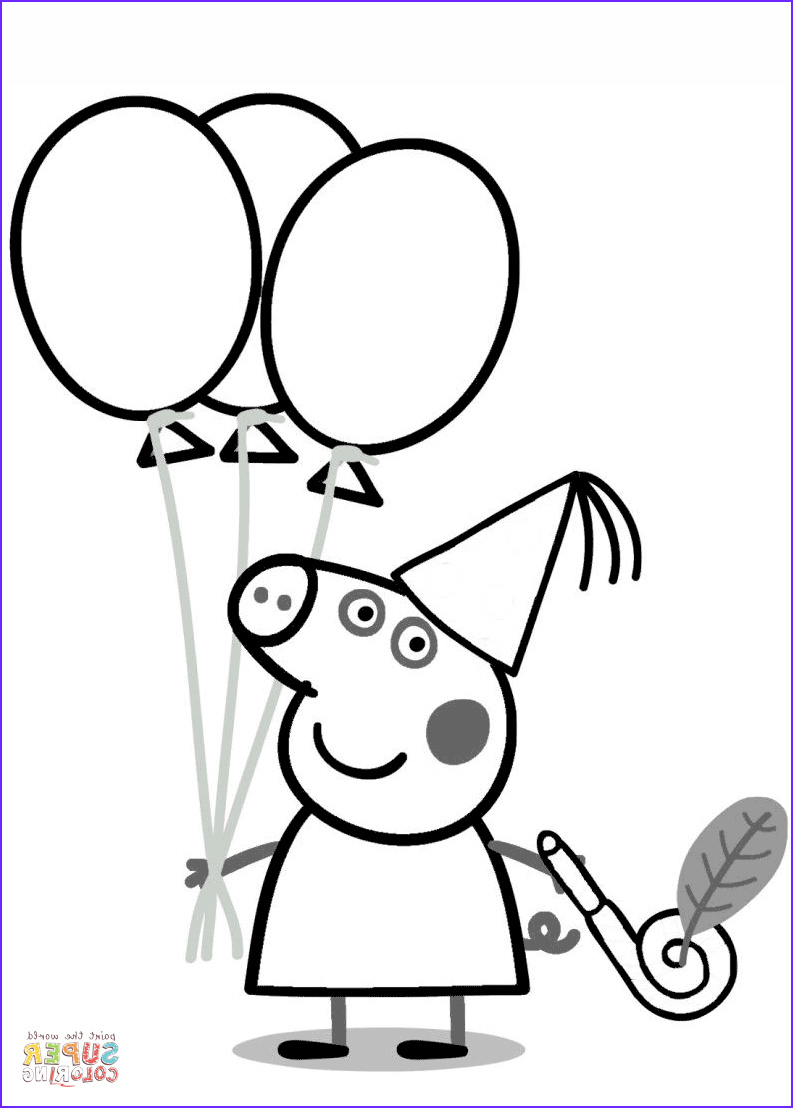 Peppa Pig Coloring Book Best Of Gallery Peppa Pig with Ballons Coloring Page