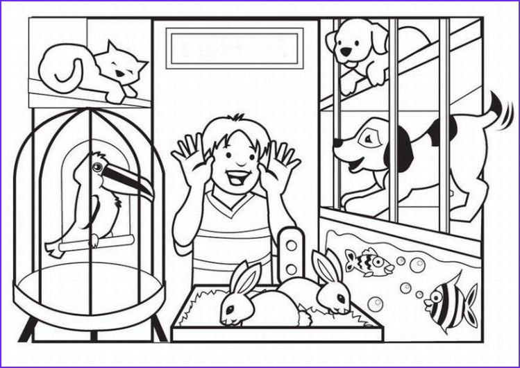 Pets Coloring Pages Elegant Collection A Visit to the Pet Store