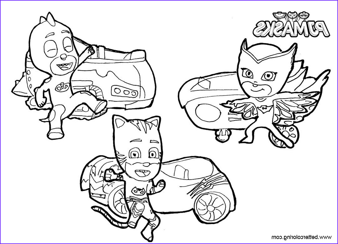 catboy coloring pages pj masks with vehicles