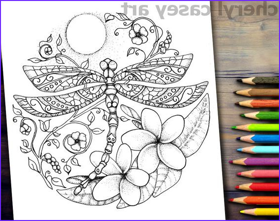 printable coloring page dragonfly moon