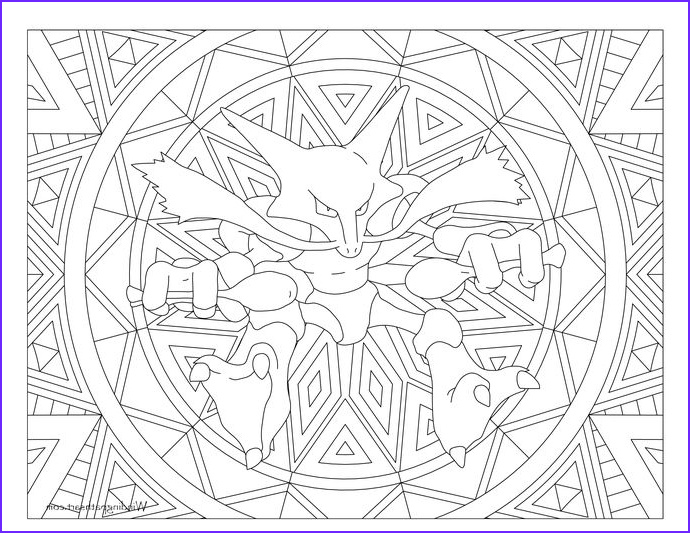 Pokemon Adult Coloring Book New Gallery Adult Pokemon Coloring Page Alakazam