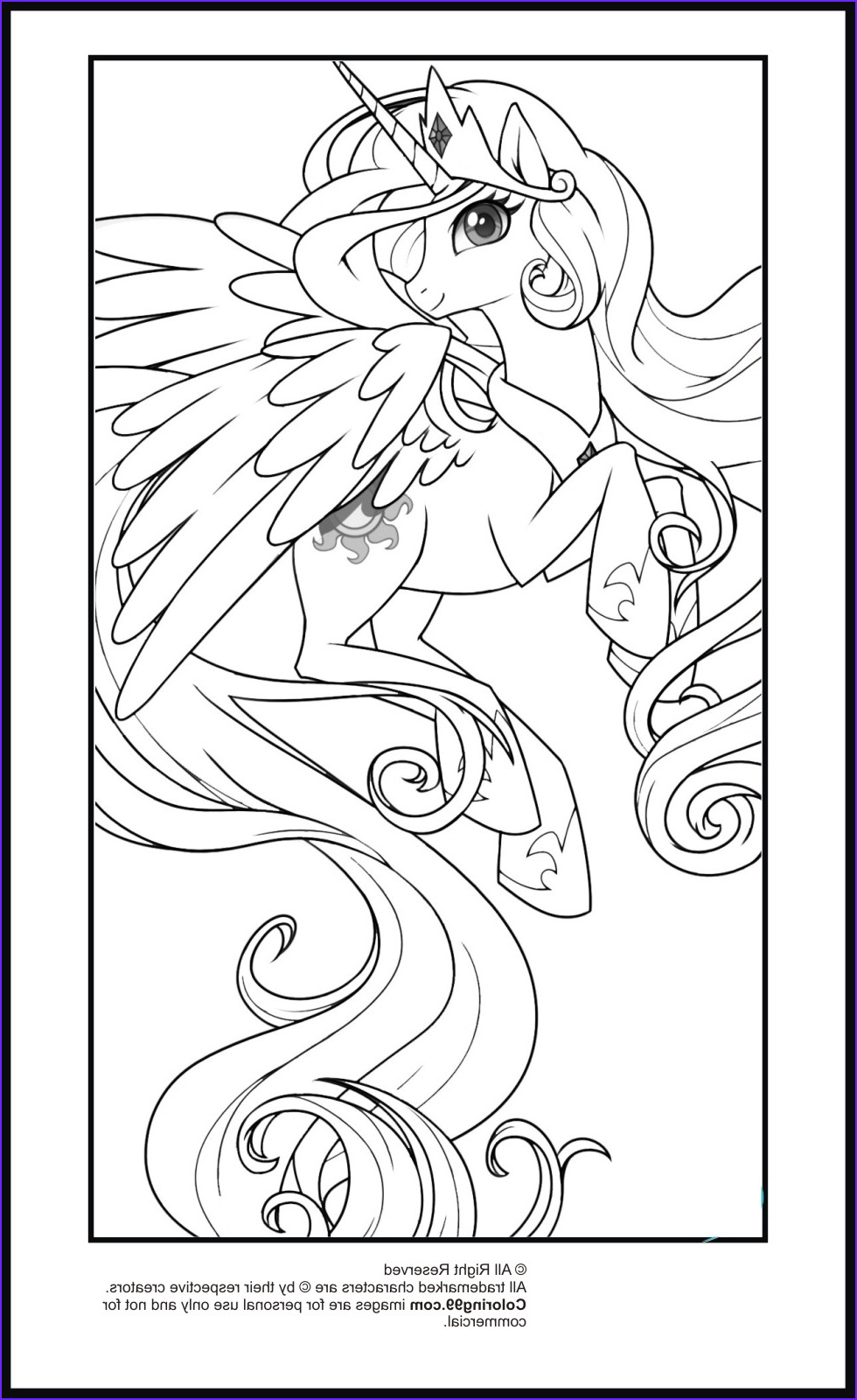 Ponies Coloring Cool Image My Little Pony Princess Celestia Coloring Pages
