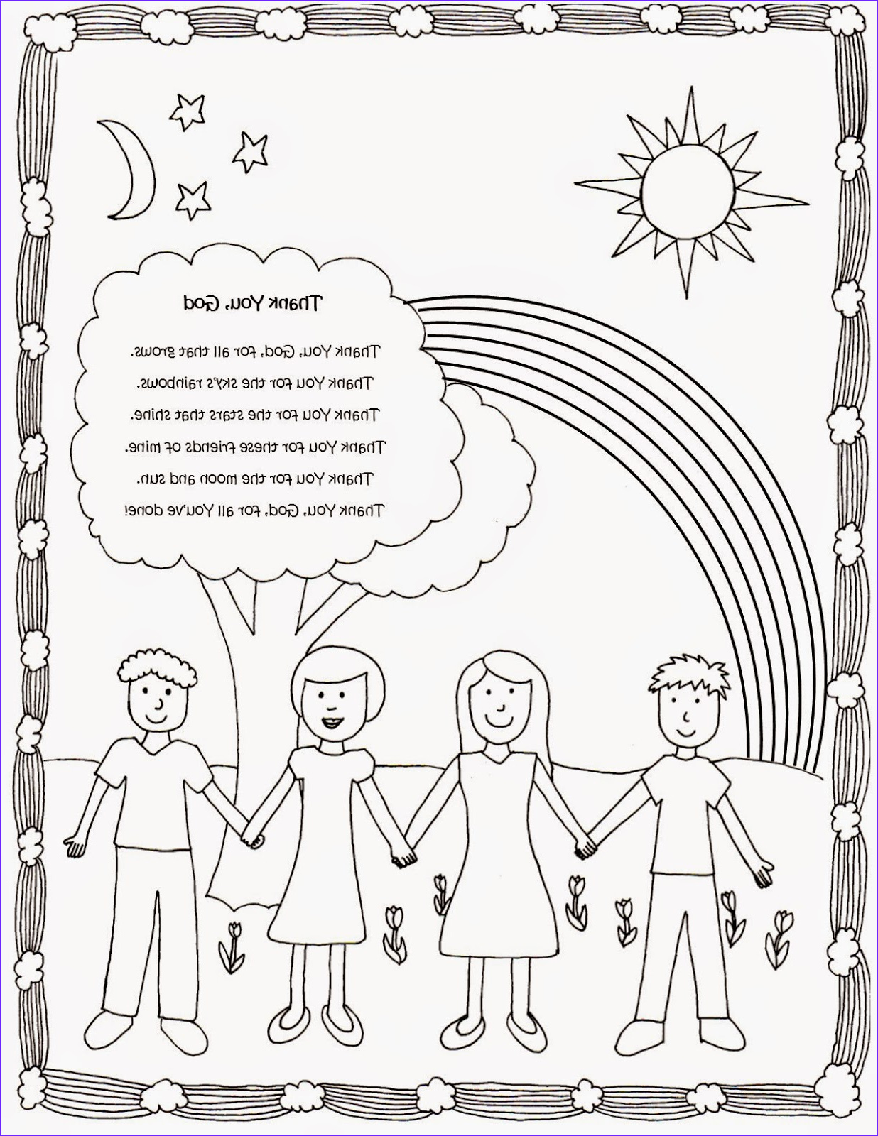 cute and free coloring page with thank