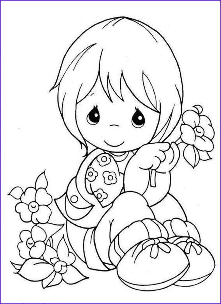 Precious Moments Coloring Books Beautiful Images Little Girl Holding A Flower Coloring Pages