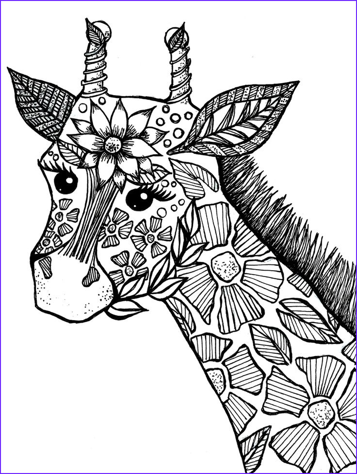 Printable Animal Coloring Pages for Adults Beautiful Stock Giraffe Adult Coloring Book Page