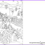 Printable Christmas Coloring Cards Cool Images Santa Claus Is Going Down Through A Chimney Christmas Card