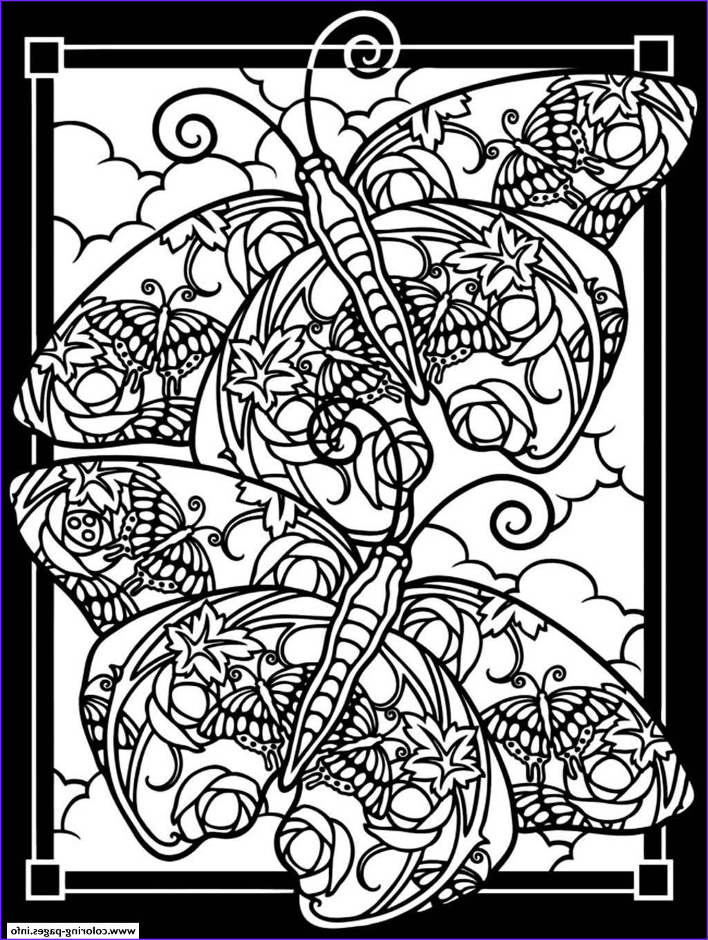 adult difficult two butterflies black background printable coloring pages book 3730