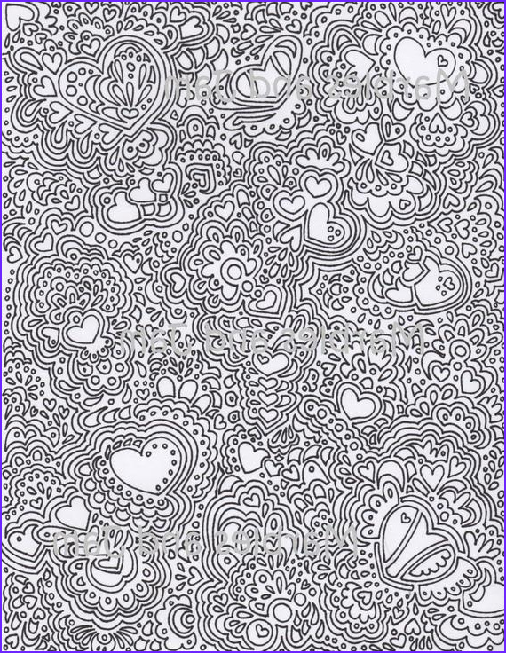 abstract hearts printable adult coloring