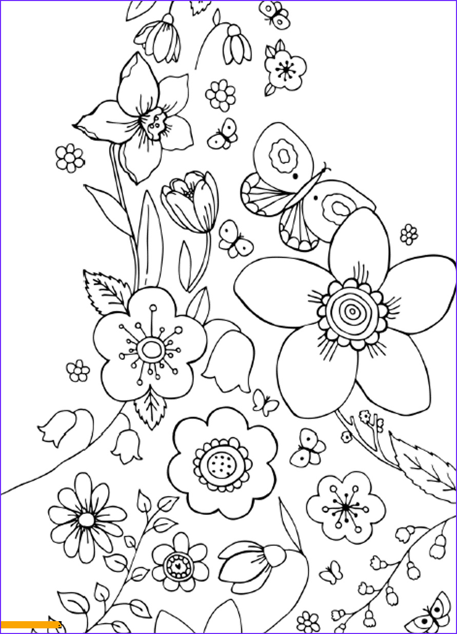 Printable Coloring Pages Of Flowers and butterflies Awesome Photos Flowers and butterflies Spring Coloring Page Free