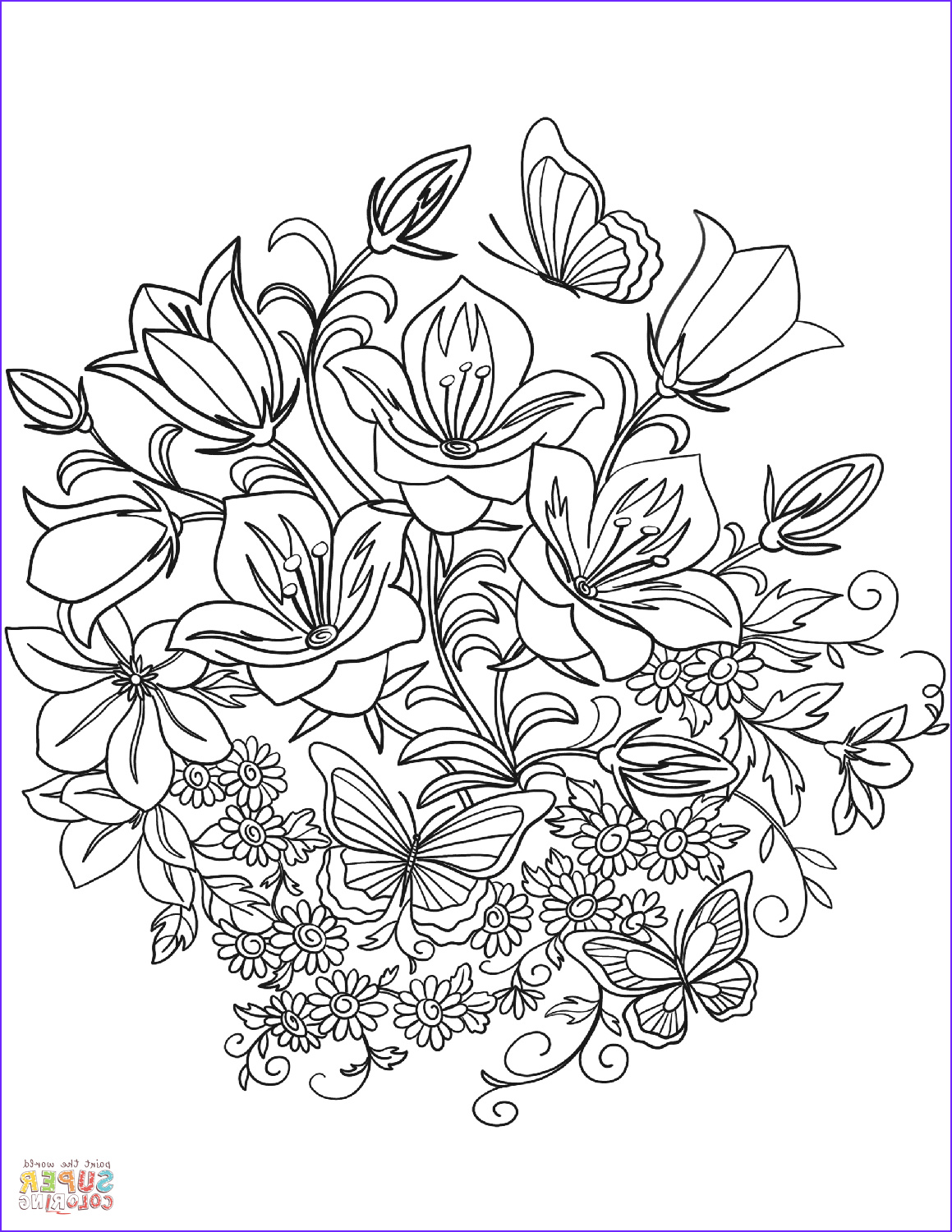 Printable Coloring Pages Of Flowers and butterflies Beautiful Photos butterfly and Flowers Coloring Page