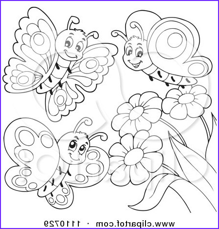 outlined butterflies with flowers