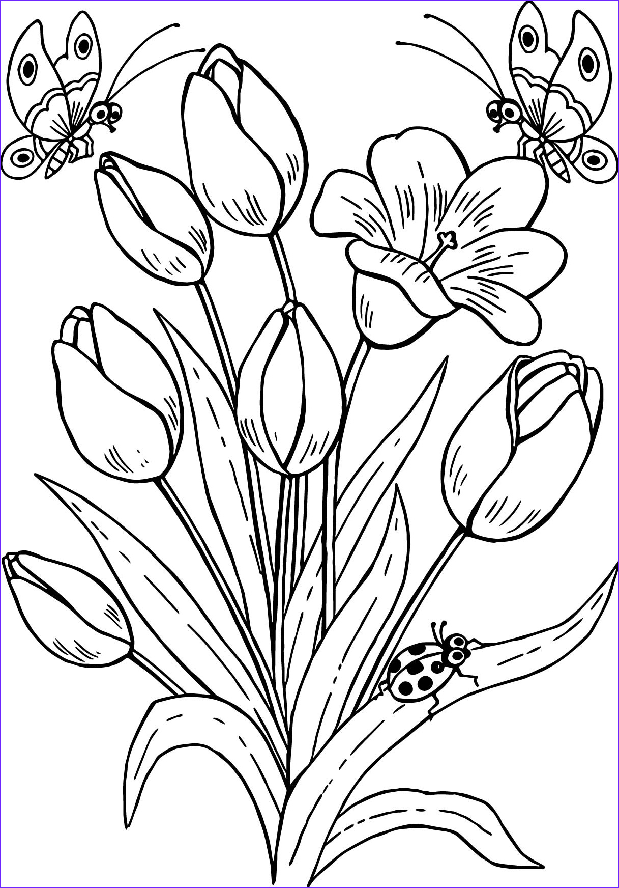Printable Coloring Pages Of Flowers and butterflies Luxury Photos Drawing butterfly Flowers Tulips Coloring Page