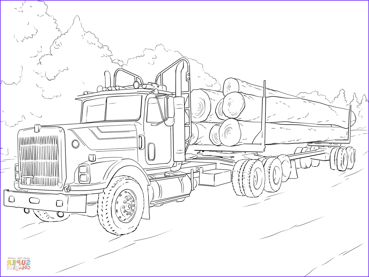 Printable Truck Coloring Pages Awesome Photos Log Truck Coloring Page