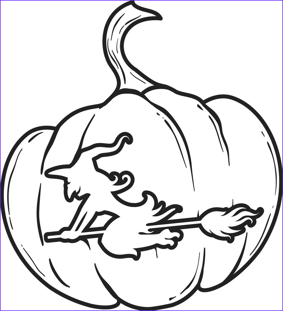 pumpkin carving of a witch on her broom coloring page a4291