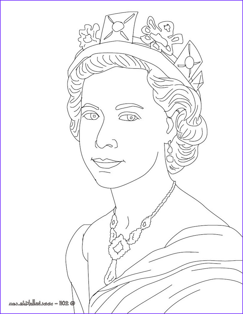 Queen Coloring Page Beautiful Stock Queen Elizabeth Ii Coloring Pages Hellokids