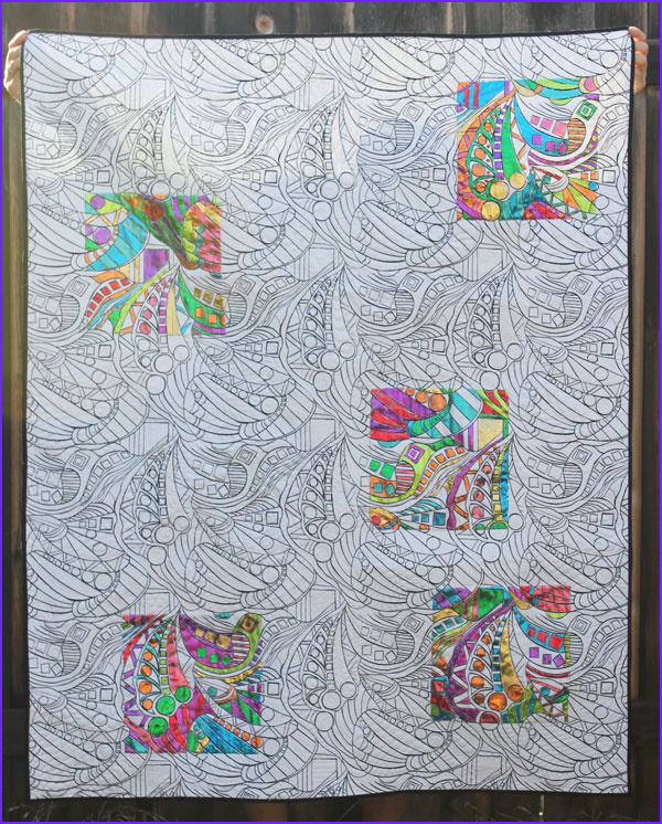 create a deco foil coloring book quilt