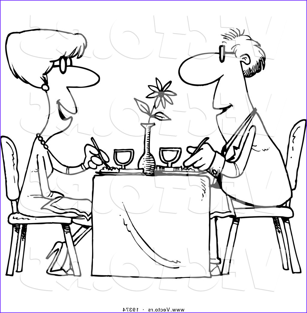 Restaurant Coloring Pages Beautiful Image R Preview Vector Of A Cartoon Couple Dining at A
