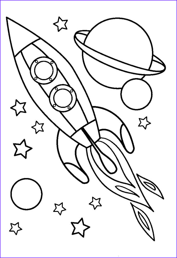 Rocket clipart colouring page