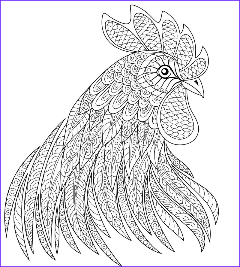 stock illustration rooster head zentangle style symbol chinese new year adult anti stress coloring page black white hand drawn doodle image