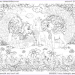 Royalty Free Coloring Pages Luxury Photos Clipart Coloring Page Horses And A Deer In A Meadow