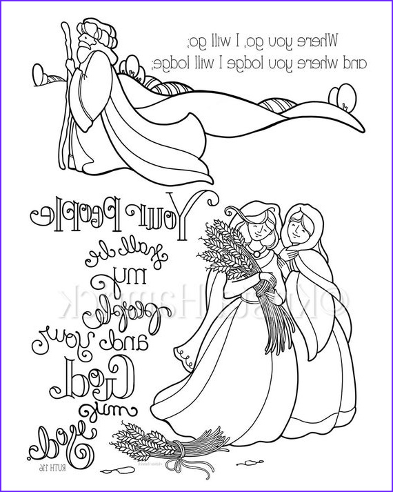 Ruth Coloring Pages Inspirational Images Ruth Coloring Page In Two Sizes 8 5x11 Bible Journaling