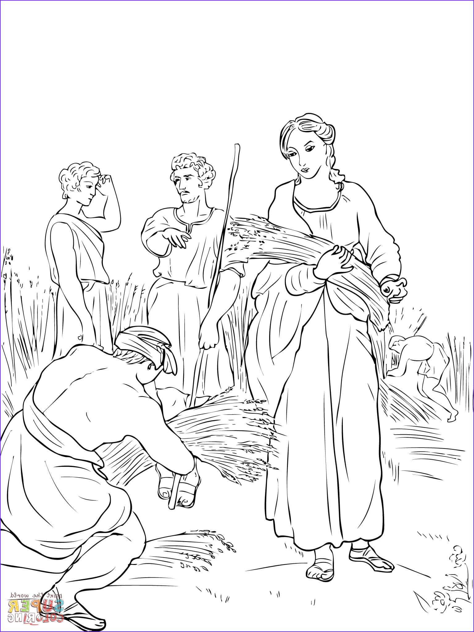 Ruth Coloring Pages New Collection Ruth Working In the Fields Coloring Line