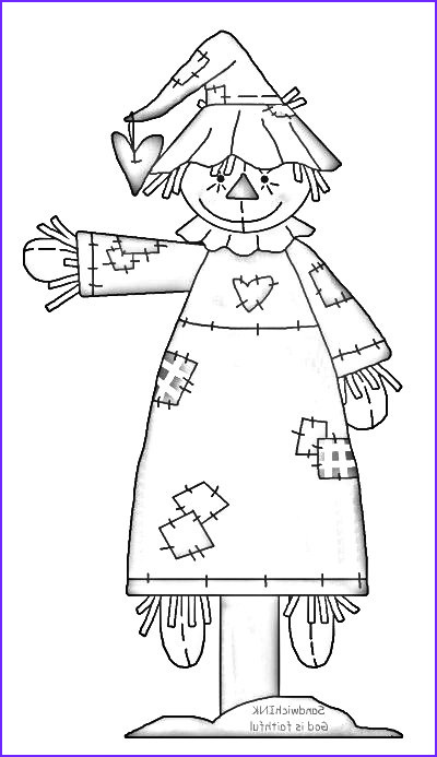 fall autumn scarecrow coloring page